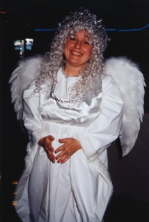 me wearing angel costume at work