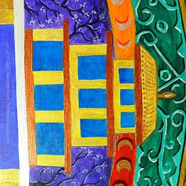 Archangel #1 Mandala: 13 - Roof details on turquoise temple (before column outline)