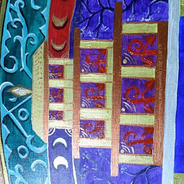 "Archangel #1 Mandala: 17 - ""new growth"" symbols and gold ""sun"" within purple temple"