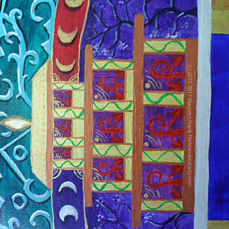 Archangel #1 Mandala: 18 - green vine going up columns in purple temple