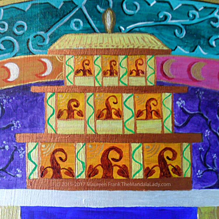 Archangel #1 Mandala: 20 - green vine going up columns in marigold temple