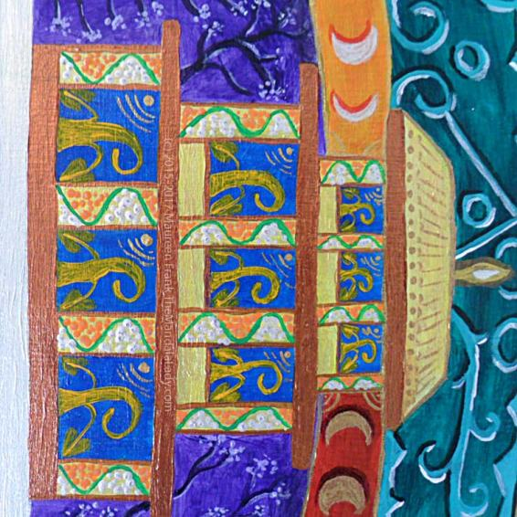 Archangel #1 Mandala: 21 - Blossoms on columns of turquoise temple
